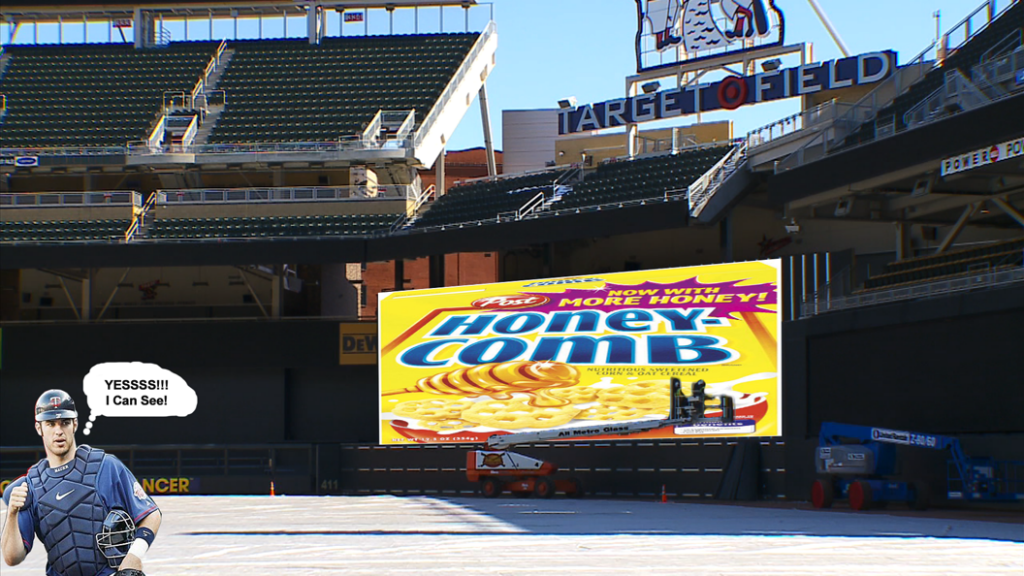 new backdrop at Target Field
