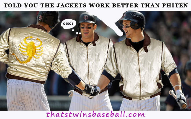 Mauer and Morneau homer in same game thanks to performance enhancing jackets.